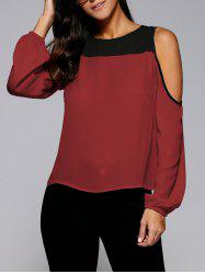 Cold Shoulder Contrast Trim Blouse - DEEP RED