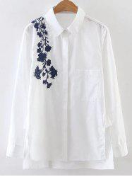 Side Slit Floral Embroidered Shirt