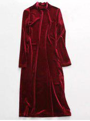 Stand Neck Long Sleeve Velvet Dress