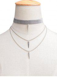 Layered Rivet Velvet Choker Necklace - LIGHT GRAY