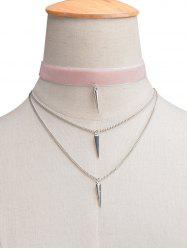Layered Rivet Velvet Choker Necklace