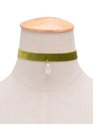 Faux Pearl Velvet Water Drop Choker - GREEN