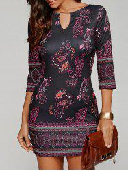 Three Quarter Sleeve Paisley Keyhole Neck Bodycon Short Dress - BLACK
