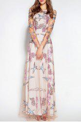 See Thru Embroidered Tulle Maxi Dress