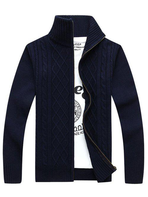 Sale Stand Collar Zip-Up Cable Knitted Cardigan