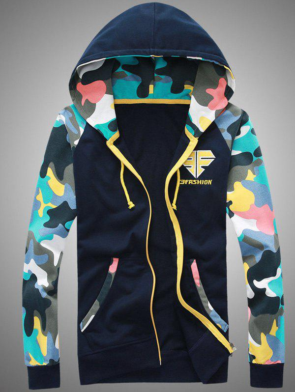 Hot Camouflage Splicing Embroidered Hooded Zip-Up Hoodie