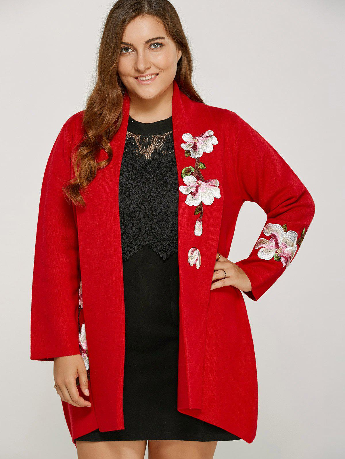 Store Wintersweet Embroidery Plus Size Floral Cardigan