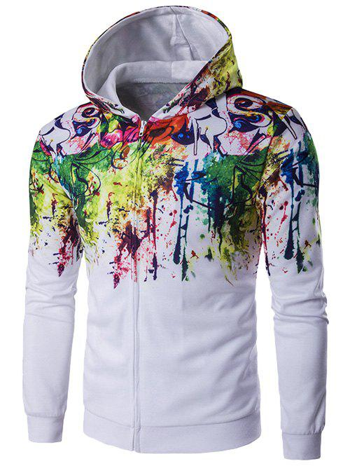 Zip-Up Paint Splash Hoodie - White M