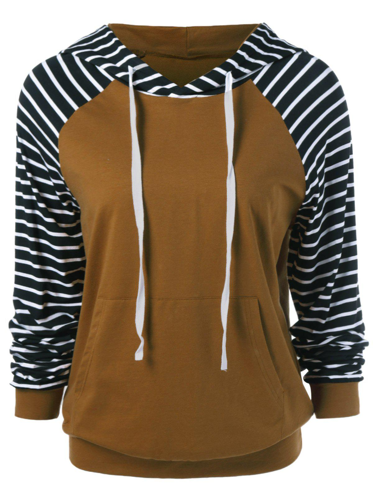 Sale Striped Trim Drawstring Hoodie