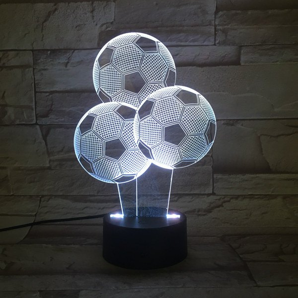 Colorful 3D Visual Stereo Three Football LED Bedroom Night LightHOME<br><br>Color: COLORFUL; Style: Modern/Contemporary; Categories: Light; Material: Acrylic,Plastic; Voltage(V): 5V; Power (W): 0.5W; Weight: 0.333kg; Package Contents: 1 x Night Light (Set);