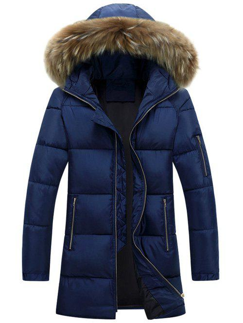 Latest Furry Hood Longline Zip Up Padded Coat