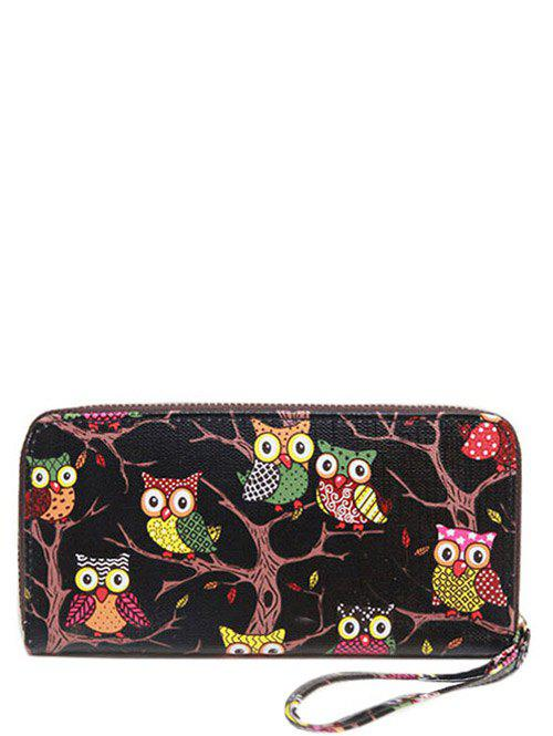 Zip Around Owl Print PU Leather WalletSHOES &amp; BAGS<br><br>Color: BLACK; Wallets Type: Clutch Wallets; Gender: For Women; Style: Fashion; Closure Type: Zipper; Pattern Type: Print; Main Material: PU; Length: 20CM; Width: 3CM; Height: 10CM; Weight: 0.162kg; Package Contents: 1 x Wallet;