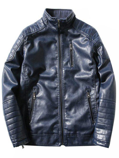 Pied de col Zipper Agrémentée Fleece PU-Leather Jacket Bleu 3XL