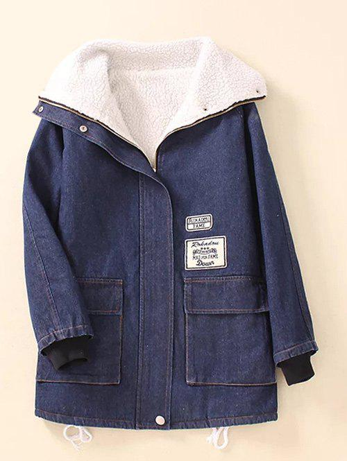 Online Pocket  Sherpa Fleece Denim Coat