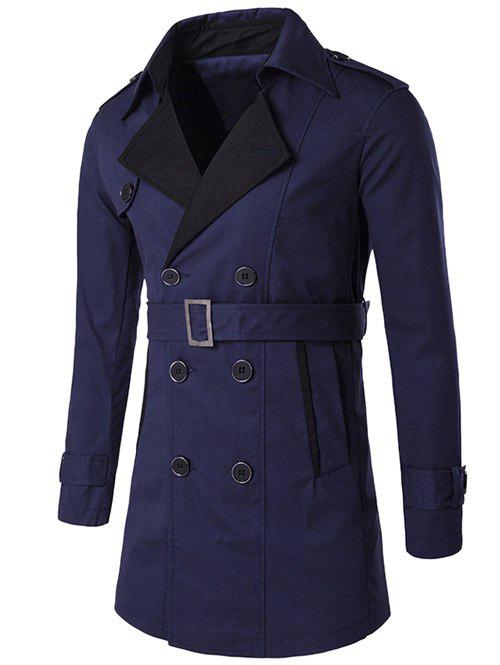 Fancy Notched Collar Color Block Double-Breasted Trench Coat