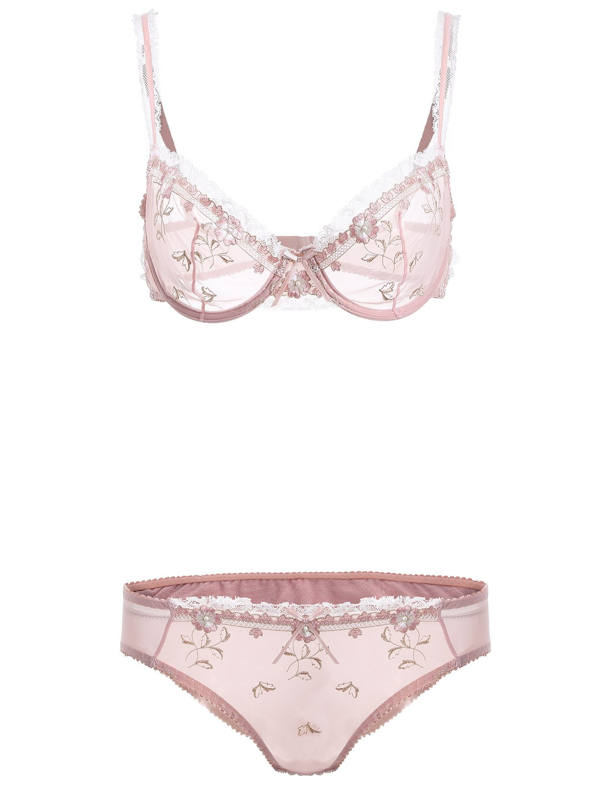 Latest See-Through Bowknot Lace Bra Panty Set