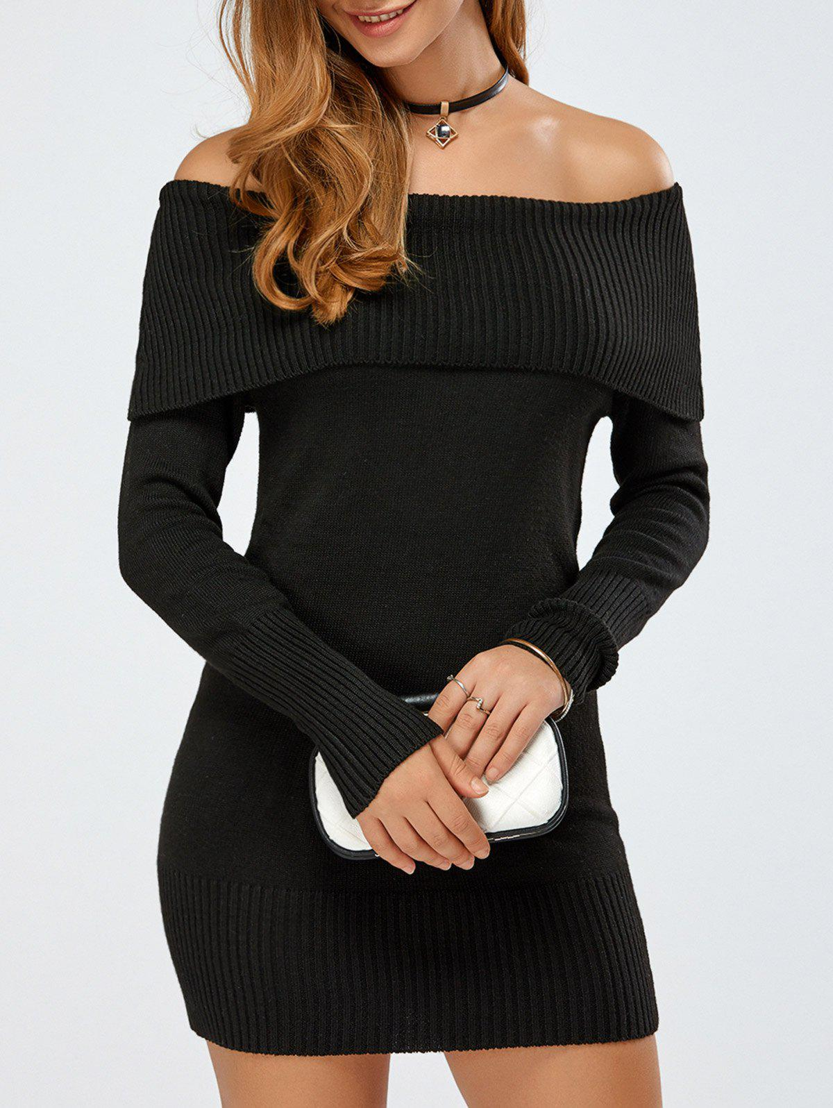 Best Off The Shoulder Knitted Mini Dress