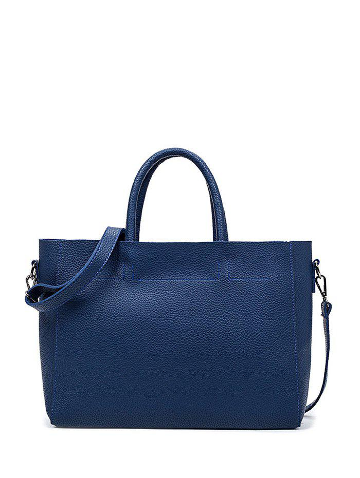 Online Concise Stitching Textured PU Leather Tote