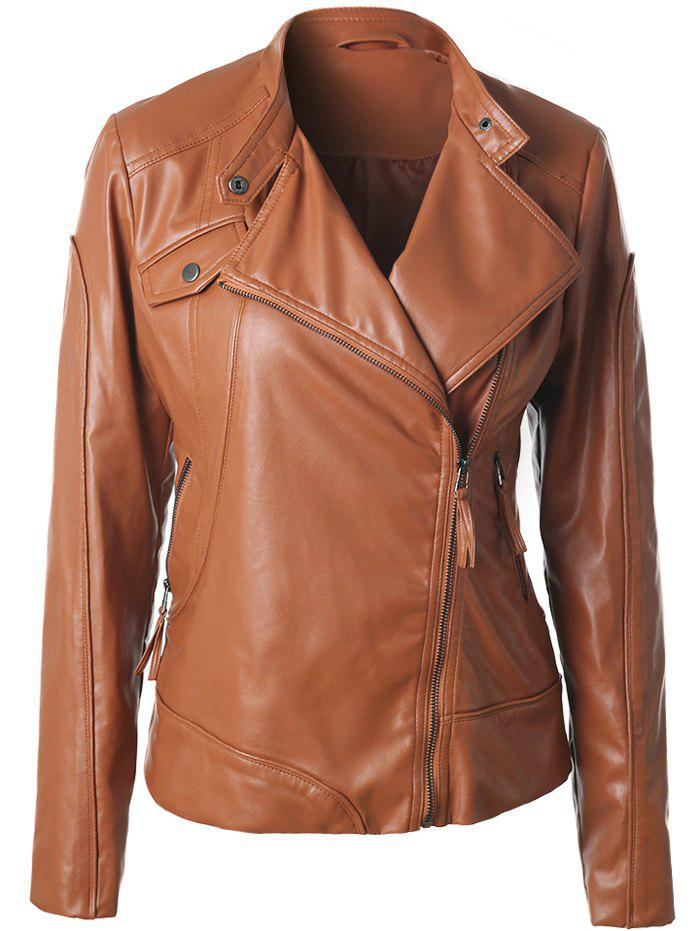 Fancy Inclined Zipper Faux Leather Biker Jacket