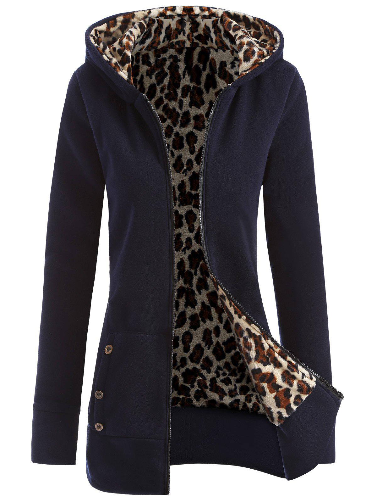 Fashion Zipper Fly Thicken Leopard Pattern Hoodie