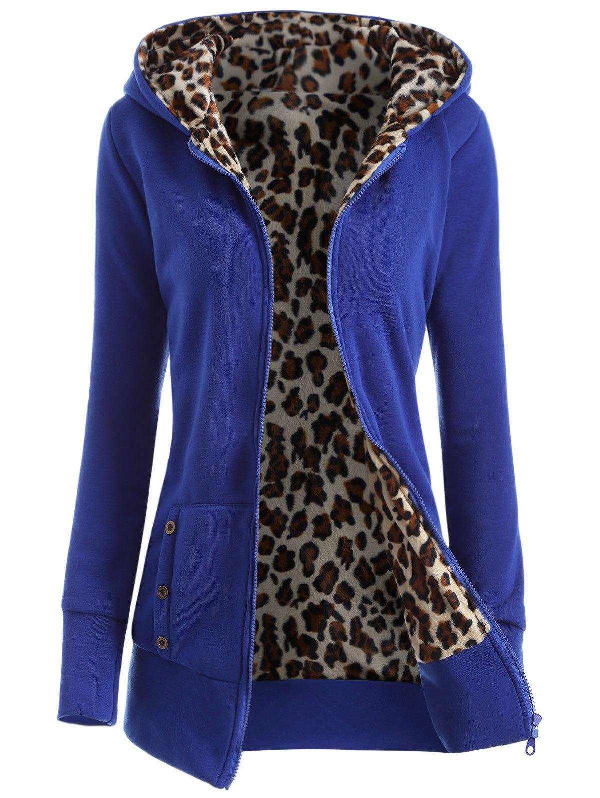 Affordable Zipper Fly Thicken Leopard Pattern Hoodie