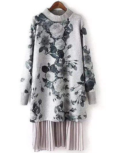 Latest Long Sleeve Floral Print Layered Sweater Dress