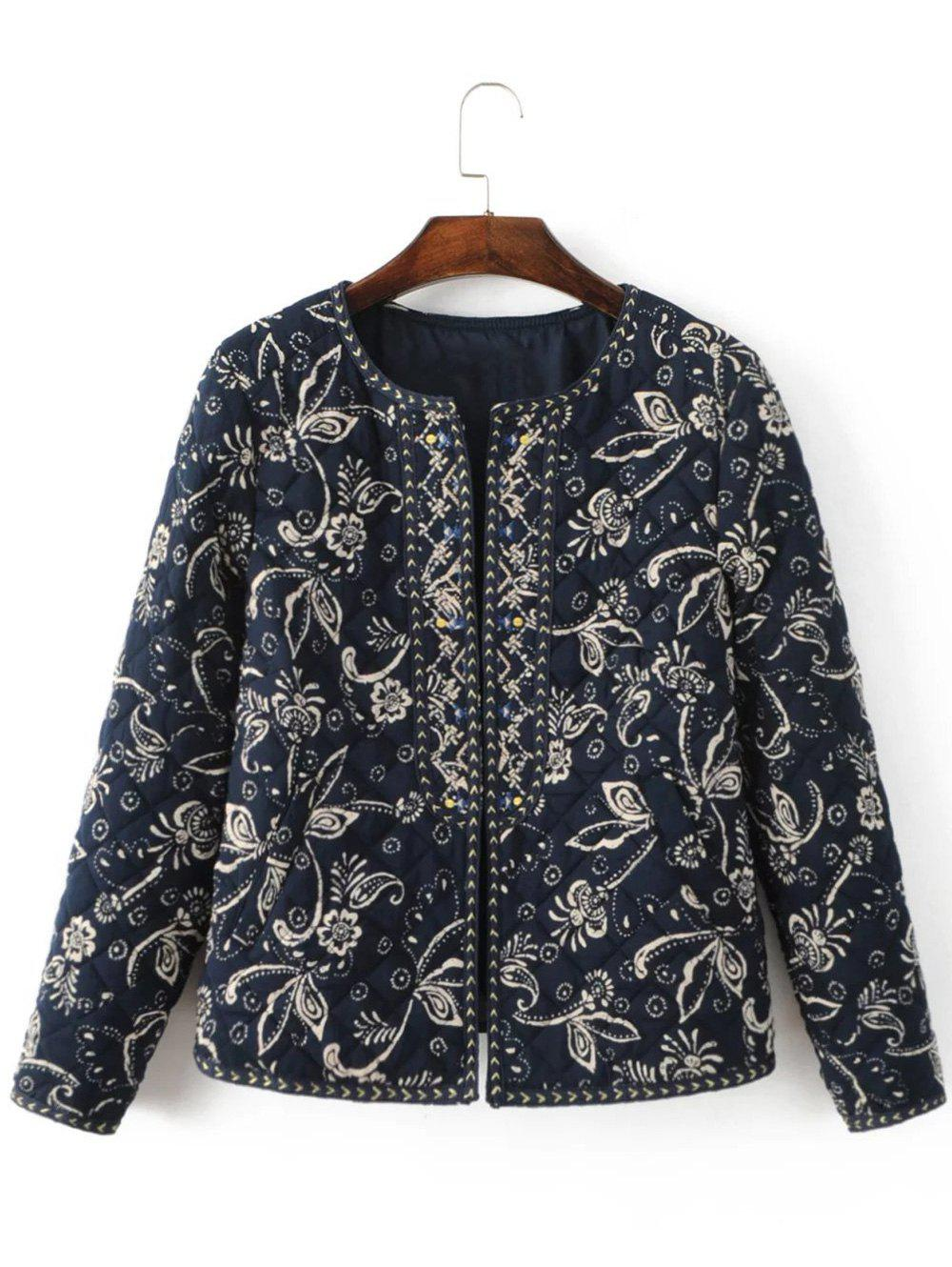 Store Ethnic Floral Embroidered Fitted Jacket