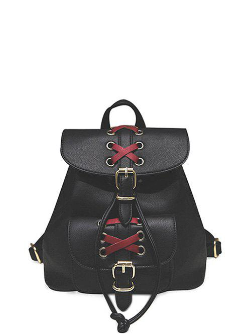 Unique Criss-Cross Eyelet Buckles PU Leather Backpack
