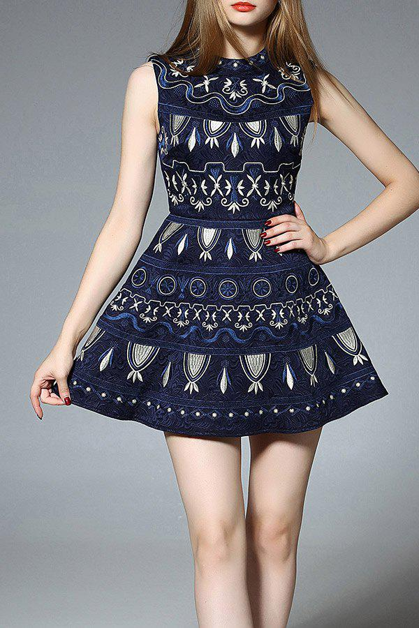 Outfit Sleeveless Mini Embroidered A Line Dress