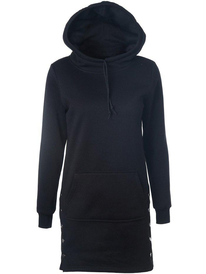 Shops Drawstring Side-Buttoned Hoodie