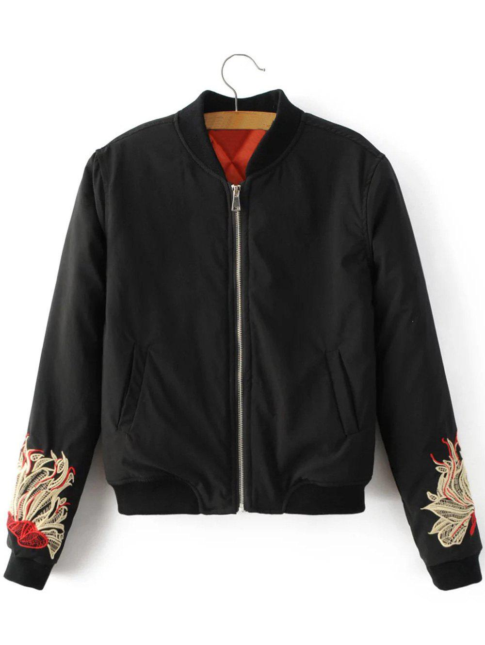 Chic Flower Embroidered Bomber Jacket