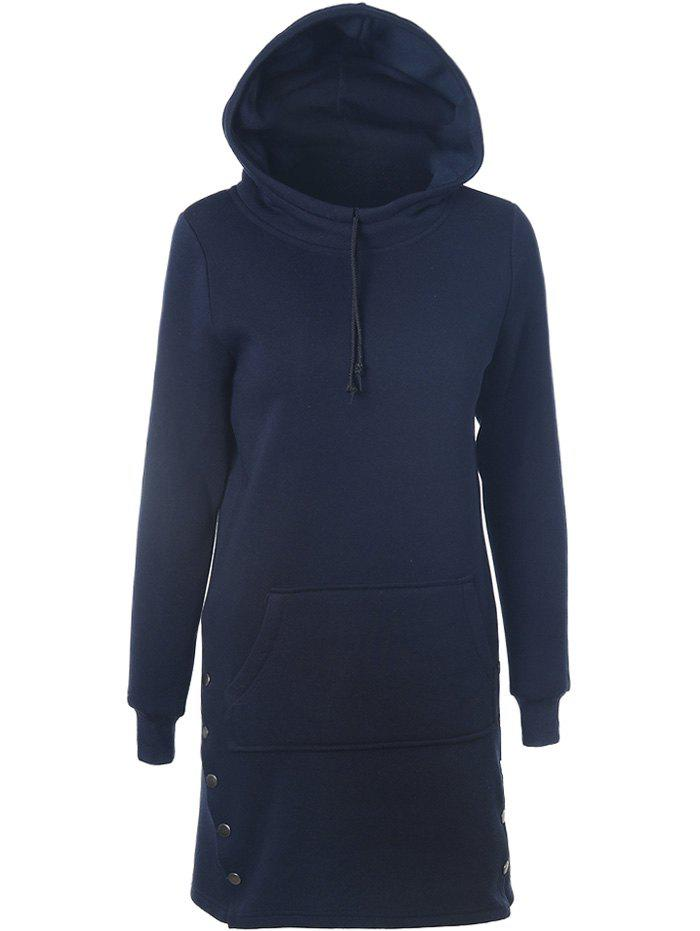 Fancy Drawstring Side-Buttoned Hoodie