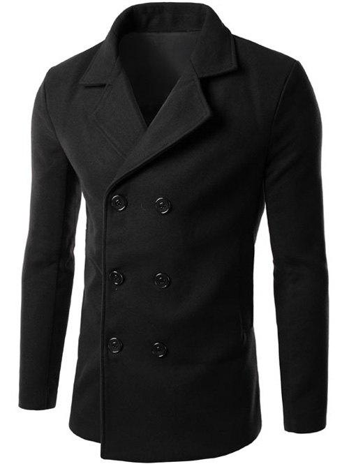 Fancy Double Breasted Lapel Collar Wool Blend Coat