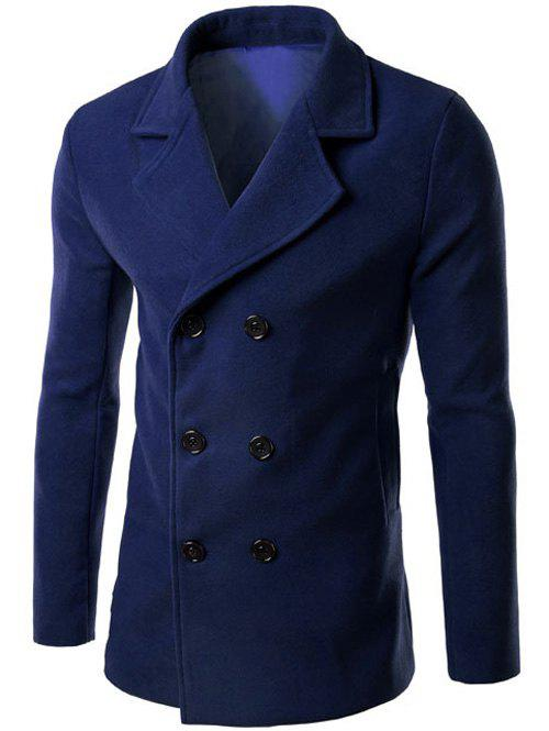 Outfit Double Breasted Lapel Collar Wool Blend Coat