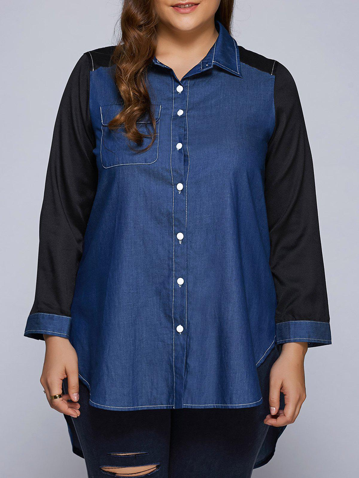 Shop Plus Size Patchwork High-Low Dark Denim Long Shirt