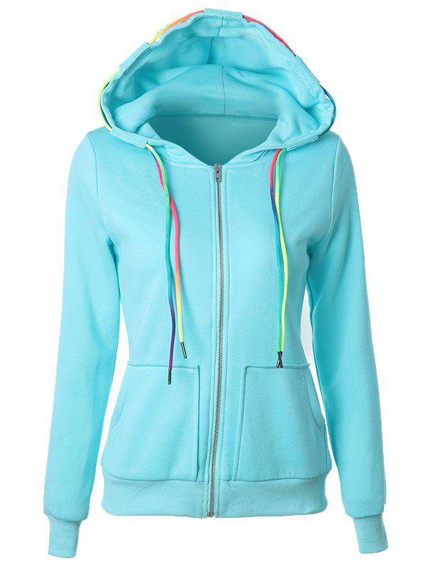 Fashion Drawstring Casual Zipper Up Hoodie