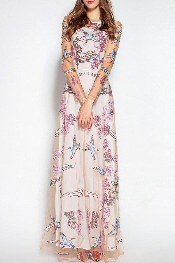 Chic Embroidered Tulle Wedding Maxi Evening Dress