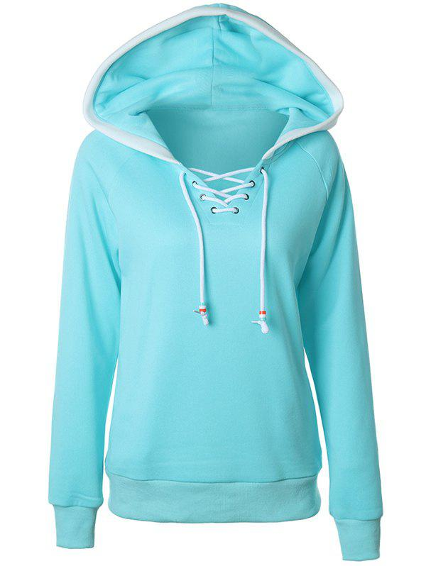 New Casual Raglan Sleeve Lace Up Pullover Hoodie