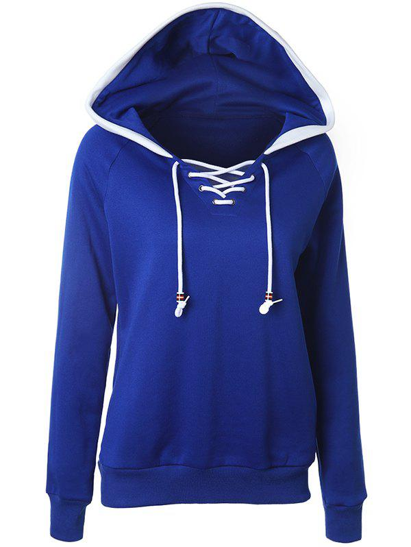 Latest Casual Raglan Sleeve Lace Up Pullover Hoodie