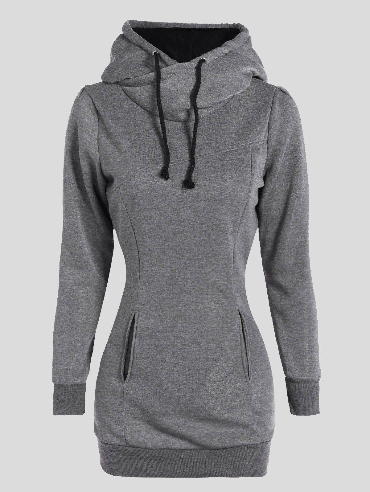 Slimming Pullover Pockets Design HoodieWOMEN<br><br>Size: 4XL; Color: GRAY; Material: Polyester; Shirt Length: Long; Sleeve Length: Full; Style: Casual; Pattern Style: Solid; Season: Fall,Spring; Weight: 0.470kg; Package Contents: 1 x Hoodie;