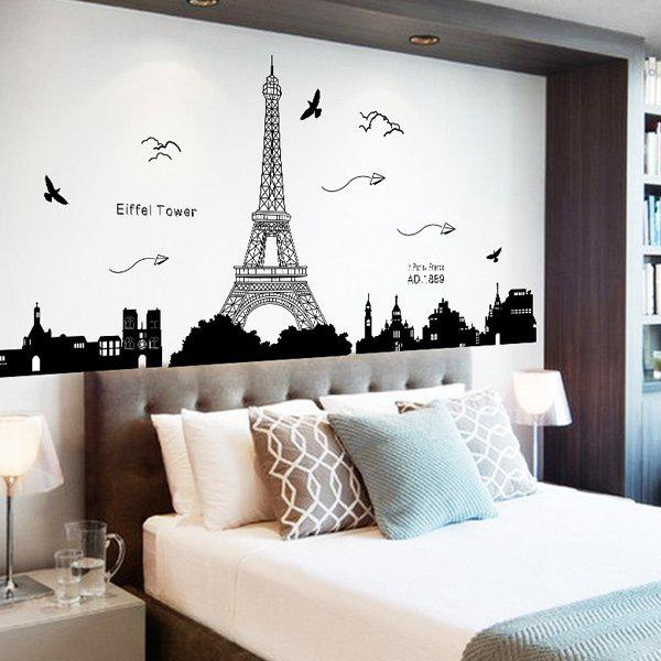 Removable Eiffel Tower Wall Stickers Room DecorationHOME<br><br>Color: BLACK; Wall Sticker Type: Plane Wall Stickers; Functions: Decorative Wall Stickers; Theme: Cartoon; Material: PVC; Feature: Removable; Size(L*W)(CM): 60*90; Weight: 0.442kg; Package Contents: 1 x Wall Stickers;