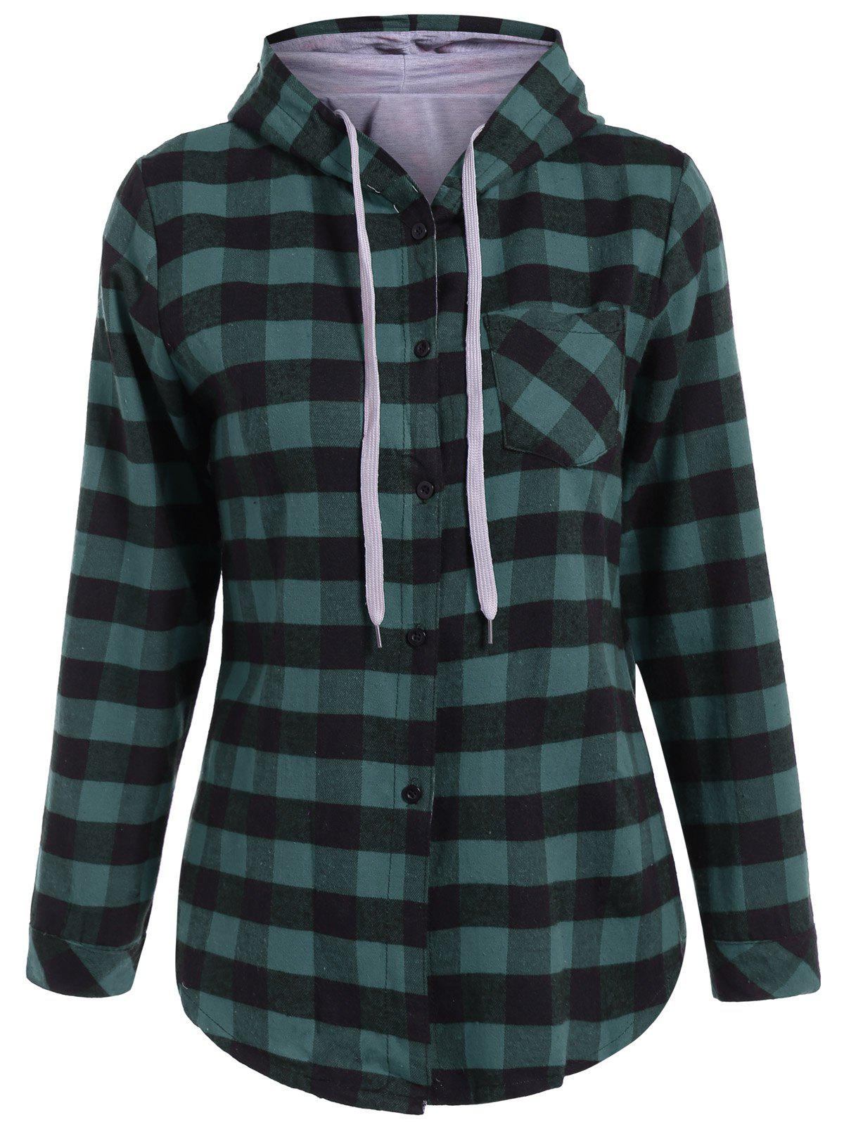 Plaid Pocket Design Buttoned HoodieWOMEN<br><br>Size: 5XL; Color: BLACK AND GREEN; Material: Polyester; Shirt Length: Long; Sleeve Length: Full; Style: Casual; Pattern Style: Plaid; Season: Fall,Spring; Weight: 0.420kg; Package Contents: 1 x Hoodie;