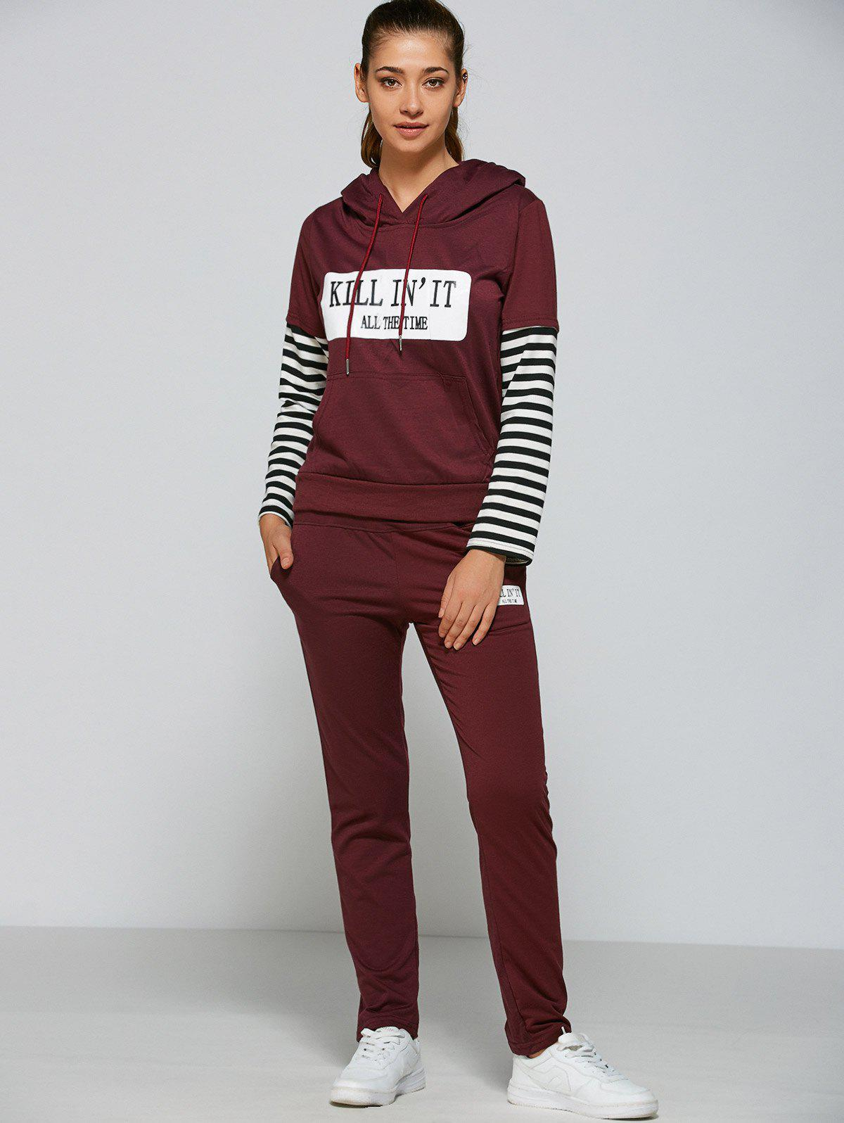 Active Striped Sleeve Hoodie+PantsWOMEN<br><br>Size: L; Color: PURPLISH RED; Material: Polyester; Shirt Length: Regular; Sleeve Length: Full; Pattern Style: Letter; Weight: 0.666kg; Package Contents: 1 x Hoodie  1 x Pants;
