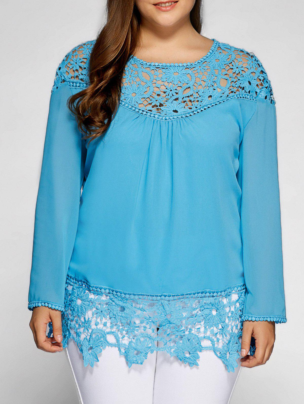 Lacework Splicing plus Blouse Taille