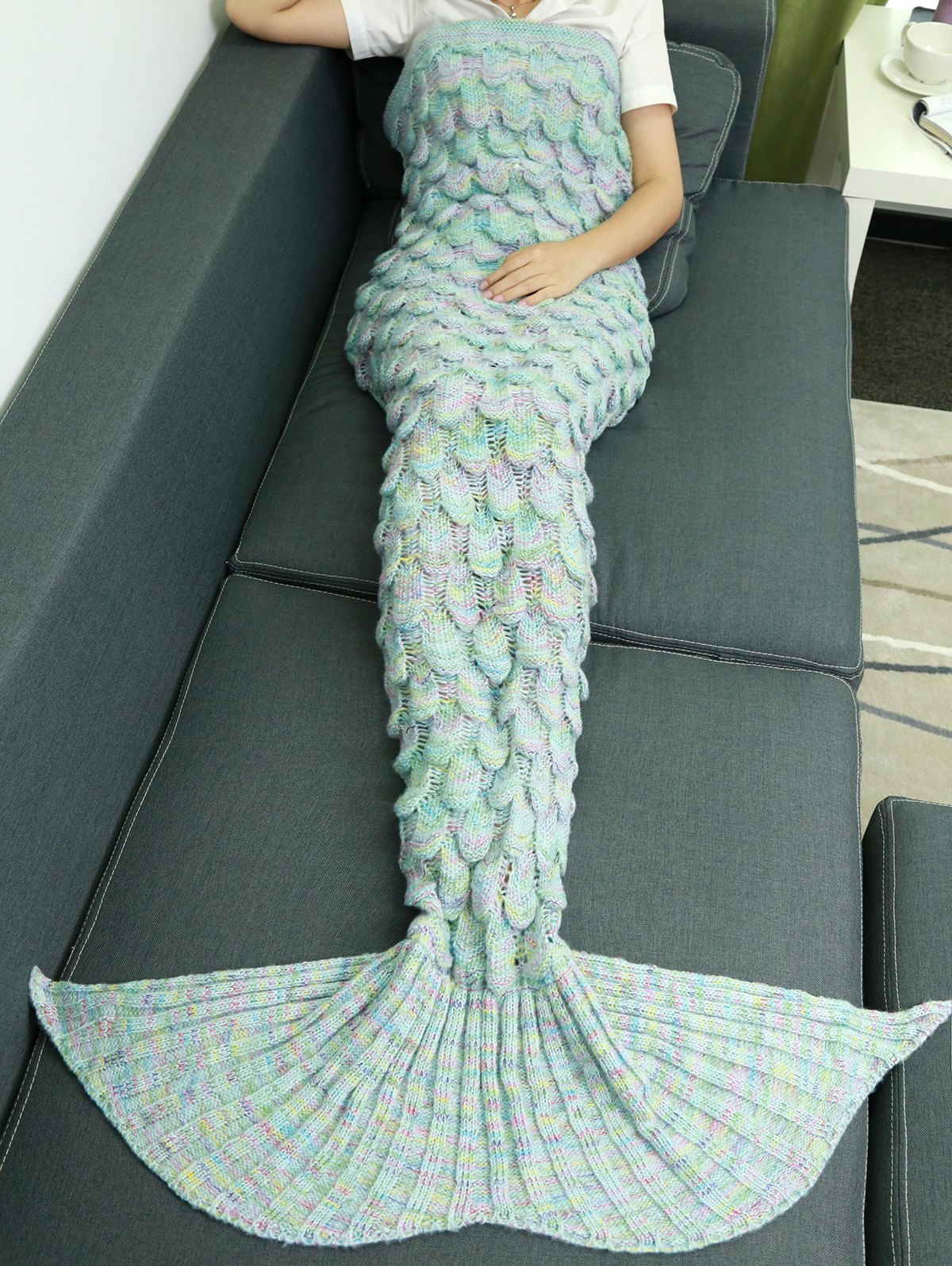 Warmth Hollow Out Design Knitted Mermaid Tail BlanketHOME<br><br>Color: AZURE; Type: Knitted; Material: Acrylic; Pattern Type: Others; Size(L*W)(CM): 180*85CM; Weight: 1.0800kg; Package Contents: 1 x Blanket;