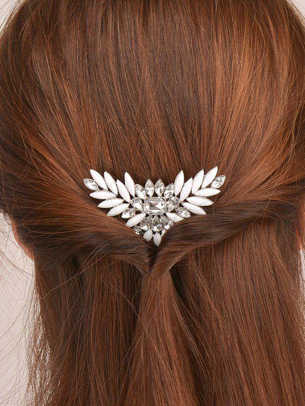 Enamel Rhinestone Floral Hair CombACCESSORIES<br><br>Color: WHITE; Headwear Type: Hair Comb; Group: Adult; Gender: For Women; Style: Fashion; Pattern Type: Floral; Material: Acrylic; Weight: 0.030kg; Package Contents: 1 x Hair Comb;