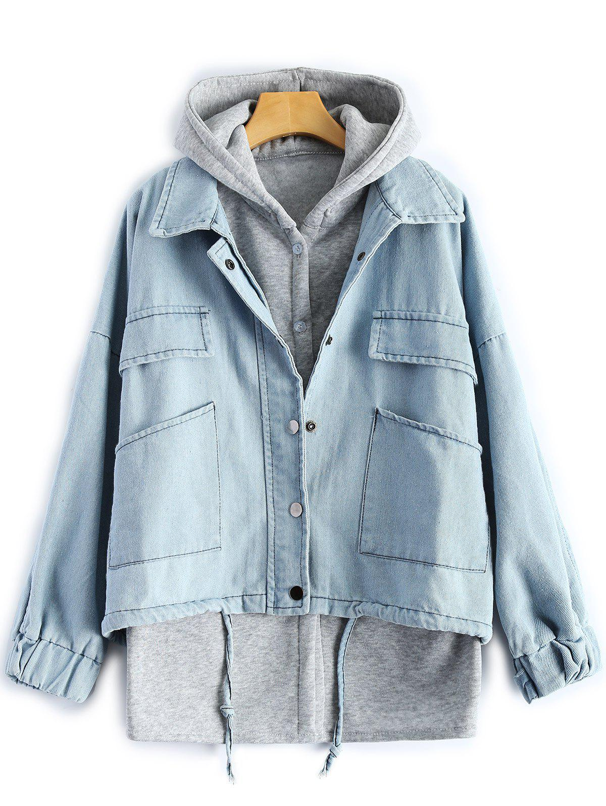 Sale Hooded Waistcoat With Denim Jacket Twinset