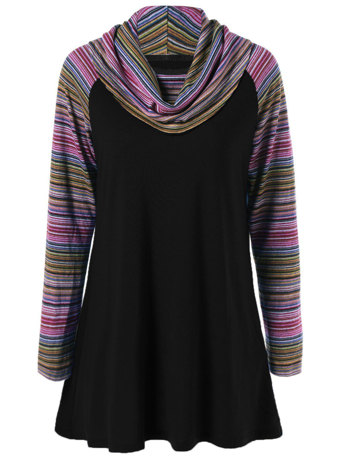 Cowl Neck Colorful Striped T-ShirtWOMEN<br><br>Size: M; Color: BLACK; Material: Polyester; Sleeve Length: Full; Collar: Cowl Neck; Style: Streetwear; Pattern Type: Striped; Season: Fall,Spring,Winter; Weight: 0.370kg; Package Contents: 1 x T-Shirt;