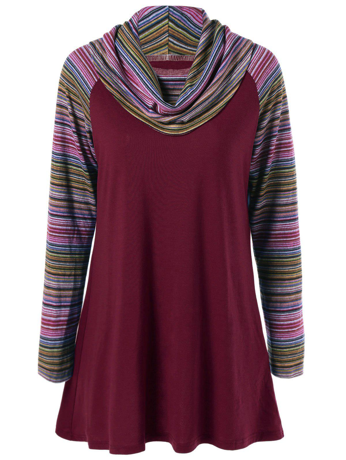 Cowl Neck Colorful Striped T-ShirtWOMEN<br><br>Size: M; Color: WINE RED; Material: Polyester; Sleeve Length: Full; Collar: Cowl Neck; Style: Streetwear; Pattern Type: Striped; Season: Fall,Spring,Winter; Weight: 0.370kg; Package Contents: 1 x T-Shirt;