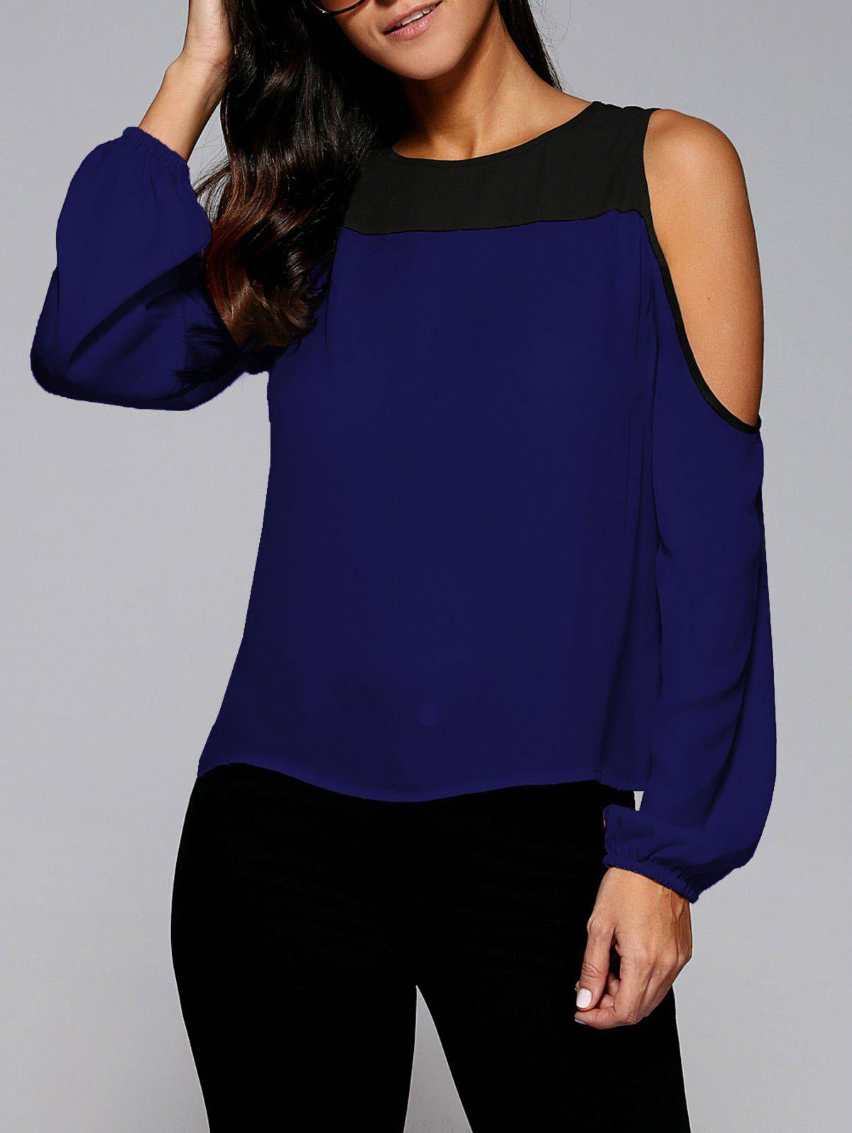Unique Cold Shoulder Contrast Trim Blouse
